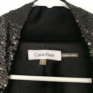 Calvin Klein Jackets & Coats - Black Calvin Cline Sequined Neck Blazer Size Small